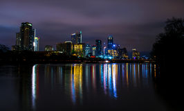 希望夜光亮的一线对奥斯汀得克萨斯的 库存图片