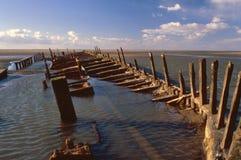 希望星形,甲板木材,遭受了海难1883年, 库存图片