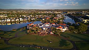 希望海岛高尔夫俱乐部和居住区戈尔德比尤特昆士兰澳大利亚 库存图片