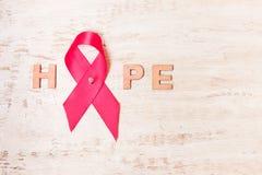 希望的词从一条桃红色丝带的 库存图片