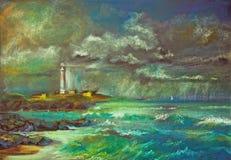 希望 灯塔在风雨如磐的海 向量例证
