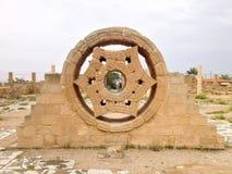 希沙姆` s宫殿石头装饰在市耶利哥在老城市 免版税库存照片
