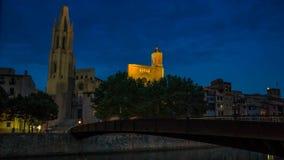 希罗纳大教堂stFeliu日落timelapse 股票视频