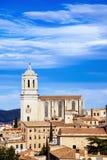 希罗纳老镇的鸟瞰图,在西班牙 免版税库存照片