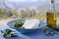 希脂乳和橄榄 库存图片