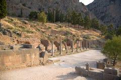 希腊。特尔斐。废墟 免版税库存图片