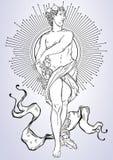 希腊上帝,古希腊的神话英雄 手拉的美丽的传染媒介艺术品 古典主义 神话和传奇 T 免版税库存照片