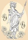 希腊上帝,古希腊的神话英雄 被隔绝的手拉的美丽的传染媒介艺术品 古典主义 神话和传奇 免版税库存照片