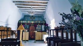 希腊东正教在Parikia,帕罗斯岛海岛,希腊 免版税库存照片
