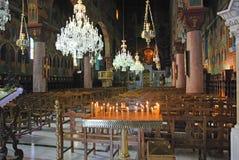 希腊东正教的内部 免版税库存图片