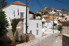 希腊九头蛇海岛 传统街道 免版税库存图片