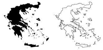 希腊传染媒介图画仅简单的锋利的角落地图  梅卡 皇族释放例证