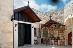 希腊修道院的露台在拉姆拉 库存图片
