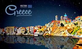 希腊假日-清楚的海和反射 海岛 背景城市横向自然全景 风景 满天星斗的天空 晚上 向量 免版税图库摄影