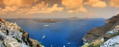 希腊全景santorini视图 图库摄影