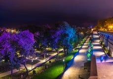希腊公园在傲德萨,乌克兰在晚上 库存图片