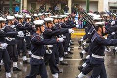 希腊军队的战士在希腊的美国独立日的期间是一每年国庆节 库存图片
