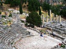 希腊剧院在特尔斐,希腊 图库摄影