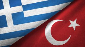 希腊和土耳其两旗子纺织品布料,织品纹理 库存例证