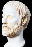 希腊哲学家Aristoteles的白色大理石胸象, 库存照片