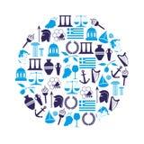 希腊国家题材标志和象在圈子eps10 库存照片