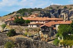 希腊圣洁meteora修道院岩石三位一体 免版税库存照片
