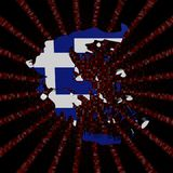 希腊在红色六角形的代码的地图旗子破裂了例证 库存例证