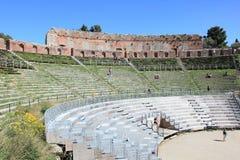 希腊地标罗马taormina剧院 库存照片