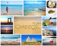 希腊夏天照片拼贴画  库存照片