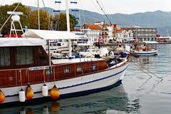 希腊天巡航小船, Thassos希腊人海岛 库存图片