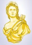 希腊女神 美丽的希腊人大理石胸象金子颜色的 在线型的Vetor例证被隔绝的 免版税库存图片