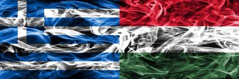 希腊对匈牙利肩并肩被安置的烟旗子 浓厚上色 向量例证