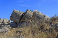 希腊寺庙专栏废墟-西西里岛,意大利 免版税库存照片