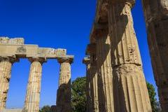 希腊寺庙E的多立克体柱廊在Selinus的在Selinunte -西西里岛,意大利 免版税库存图片
