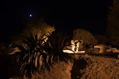 希腊寺庙telemon在夜期间在阿哥里根托,西西里岛 库存图片