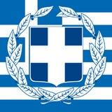 希腊徽章和旗子 免版税库存照片