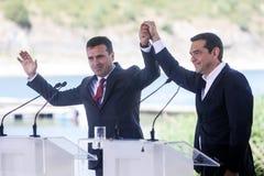 希腊总理阿列克西斯・齐普拉斯和他的马其顿counterpa 免版税图库摄影