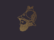 希腊战争之神商标 免版税库存照片