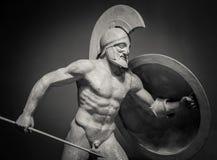希腊战士大理石雕塑  免版税库存照片