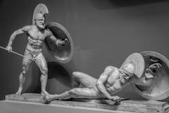 希腊战士大理石雕塑  库存图片