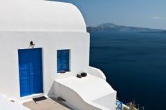 希腊房子海岛oia santorini 免版税库存图片