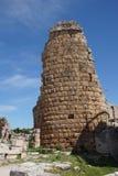 希腊文化的门的塔在古希腊城市每 库存照片
