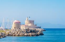 希腊旅行2015年, Rhodos海岛,罗得岛市的古老部分 库存照片