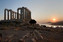 希腊日落寺庙 库存照片