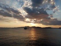希腊日落 库存照片
