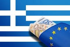 希腊横幅欧元钱包 库存照片