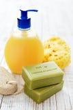 希腊橄榄色的肥皂 库存图片