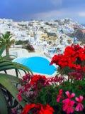 希腊池游泳 免版税库存照片