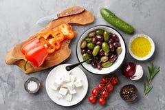 希腊沙拉烹调 库存照片