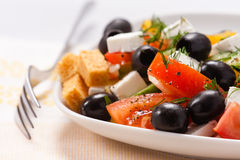 希腊沙拉用油煎方型小面包片和绿色 免版税库存照片